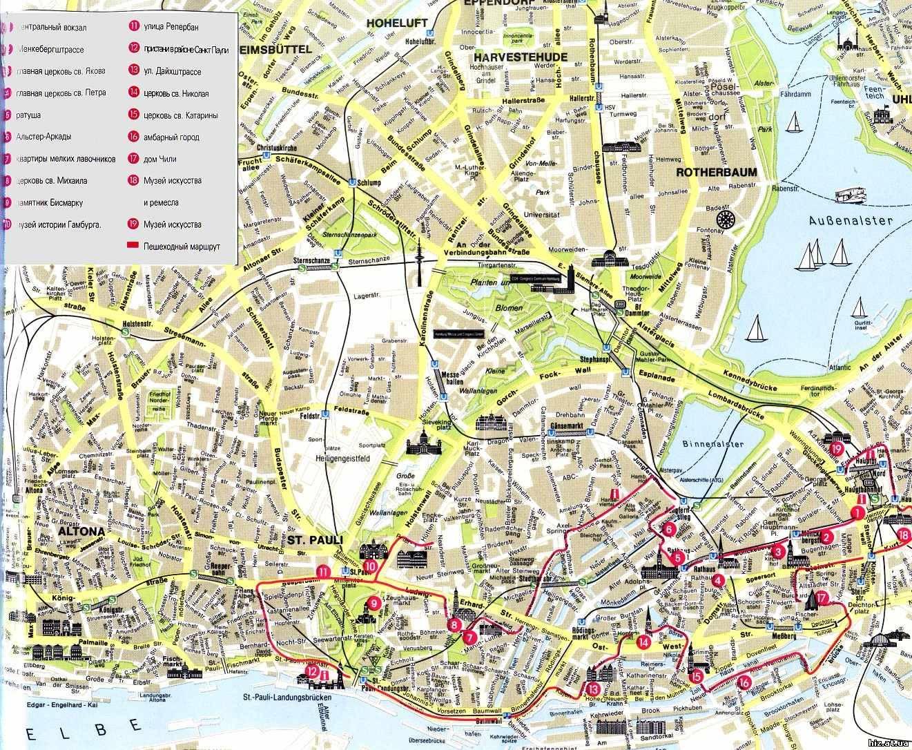 Подробная карта центра города гамбург